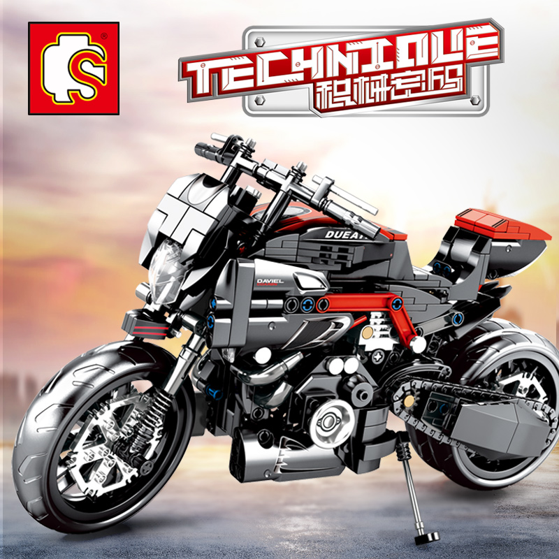 XingBao Motorcycle Technic Compatible Moto Racing Motorbike City Vehicle Sets Off Road Model Building Blocks MOC Kits Kids Toys 1
