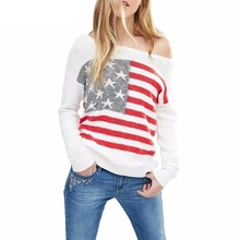 KHALEE YOSE White Knitted Sweater Pullovers Stars Stripes Flag Off Shoulder Sweaters Women Jumpers Vintage Autunm