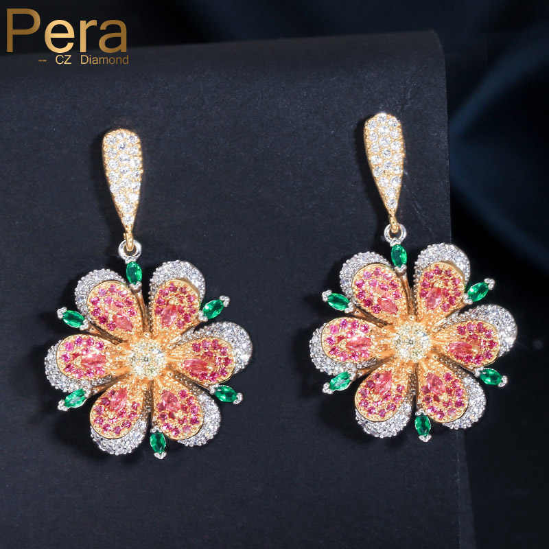 Pera Geometric Big Dangle Flower Jewelry Sterling Silver 925 Rose Red and Emerald Green Crystal Long Drop Earring for Women E099