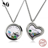 New Personalized 925 Silver Pendant Necklace Custom Crystal Engraved Letter Mother Jewelry Charm Locket Family Gift