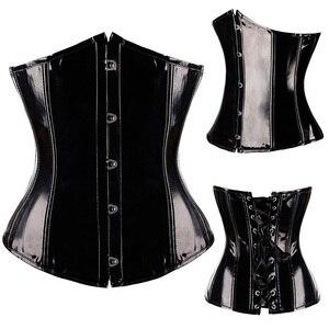Image 5 - X Sexy Black PVC Vinyl Gothic corset Black Burlesque Lingerie Bustier lingerie Steampunk Overbust shapewear Size S M L XL XXL
