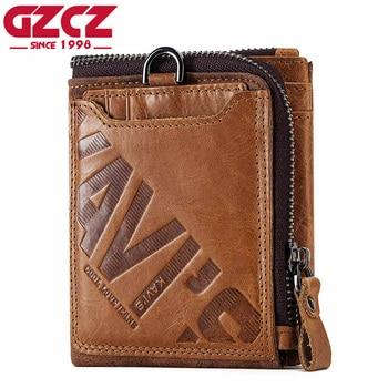 GZCZ Genuine Leather Men Wallet Fashion Coin Purse Card Holder Small Wallet Men Portomonee Male Clutch Zipper Clamp For Money 1