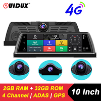 QUIDUX 10 IPS 4G Android Car DVR Camera GPS Navigation ADAS FHD 1080P Car video Recorder 4 channel WiFi Live Remote monitoring