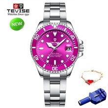 TEVISE Red Women Bracelet Watches Stainl