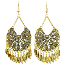 Vintage Antique Gold Color Long Hollow Out Leaves Tassel Earrings For Women Fashion Jewelry New vintage solid color hollow out necklace for women