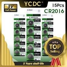 15 шт./упак. CR2016 литий Батарея 3V LM2016 BR2016 ECR2016 игрушка часы компьютер светодиодный светильник для монет одноразовые Кнопка Батарея