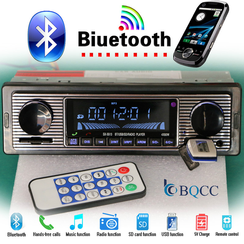 Autoradio Bluetooth 1 Din Car Radio  Vintage Auto Stereo MP3 Player  USB AUX SD Classic   Audio|Car Radios|Automobiles & Motorcycles - title=