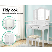 Artiss Dressing Table With Mirror White/Black Dressers Elegant Dressing Table And Stool Foldable Side Mirror Dressers A2