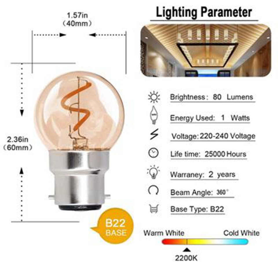 G40 B22 Bayonet Cap <font><b>Led</b></font> Light <font><b>Bulb</b></font> <font><b>1W</b></font> (Equivalent 10W) Spiral Filament Energy Saving <font><b>Led</b></font> Lamp 2200K Golf <font><b>Led</b></font> <font><b>Bulbs</b></font> Non-Dimmable image