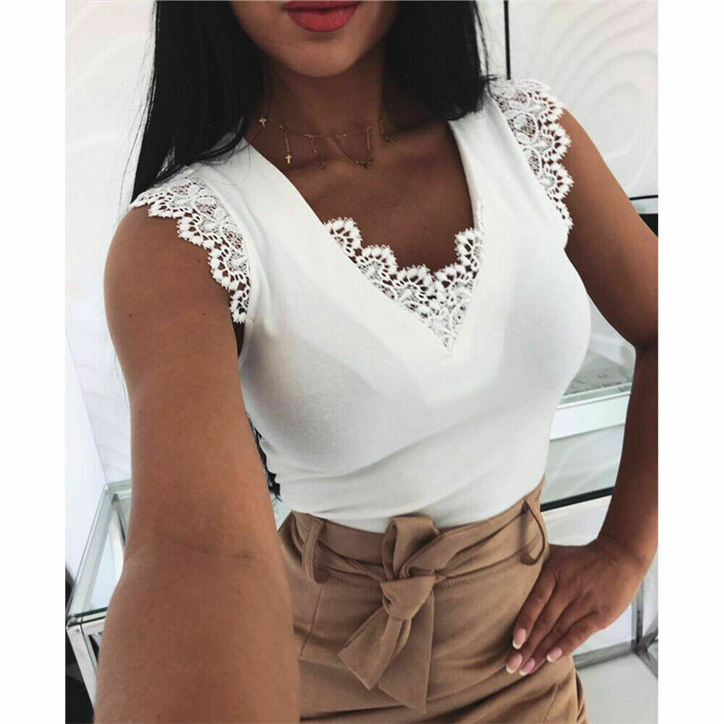 Factory Direct Sales Women Ladies Summer Lace Vest Top Sleeveless Casual T-Shirt New