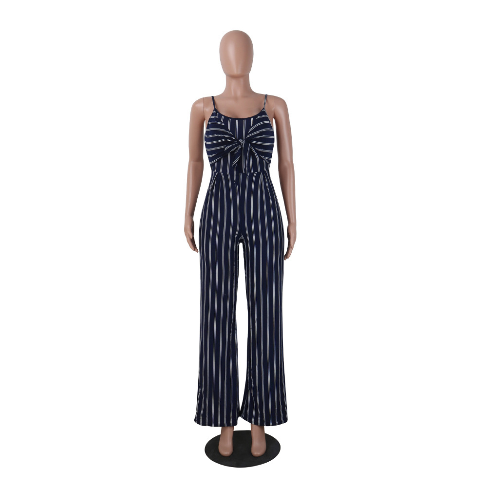 Summer Sleeveless Blue playsuits Backless Stripe Cover Ups Women Sexy Party Clubwear bodysuits Casual Bowtie Overalls Jumpsuit