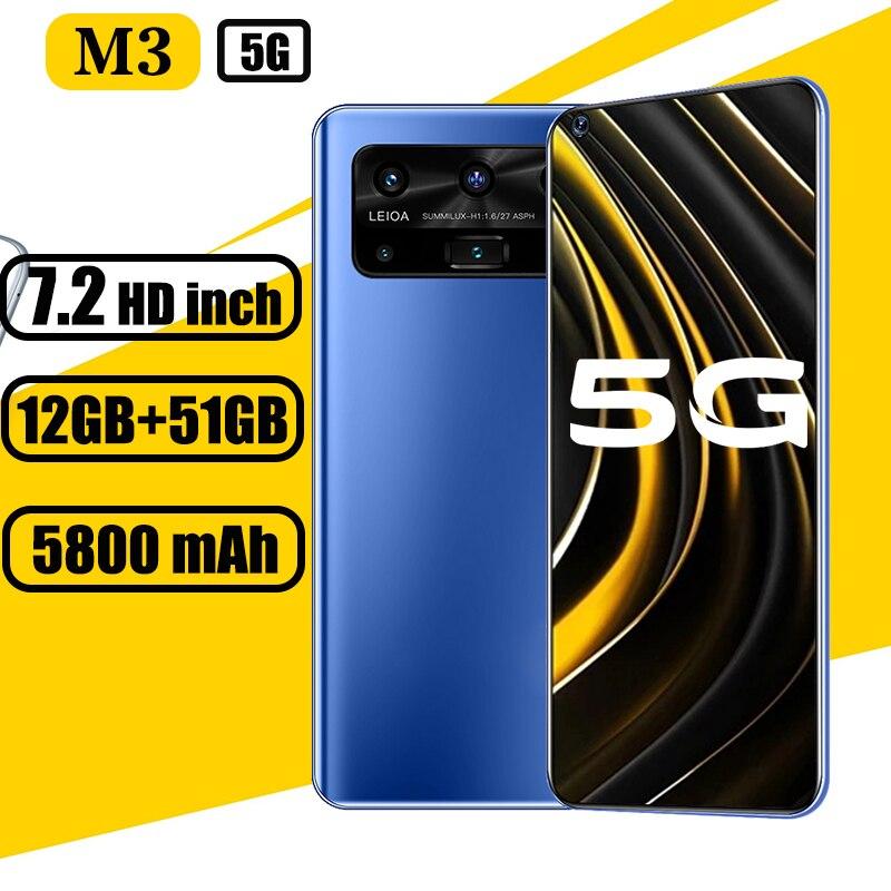 Глобальная версия 5G мобильные телефоны M3 12 Гб + 512 Гб 7,2 дюймовый экран с разрешением HD 16 ГБ + 32 ГБ, Мп смартфон ПК с системой андроида телефона ...
