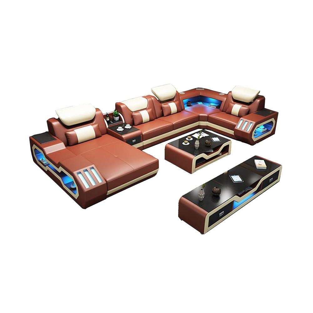 living room Sofa functional genuine leather couch Nordic modern corner U shape speaker sound system RGB LED light+ bluetooth