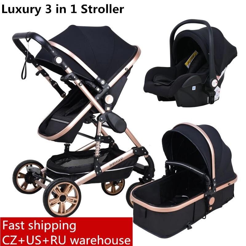 Babyfond carrinho de bebê alta paisagem 3 em 1 com assento de carro dobrável carrinho de bebê para 0-3 anos em dois sentidos carrinho de bebê recém-nascido