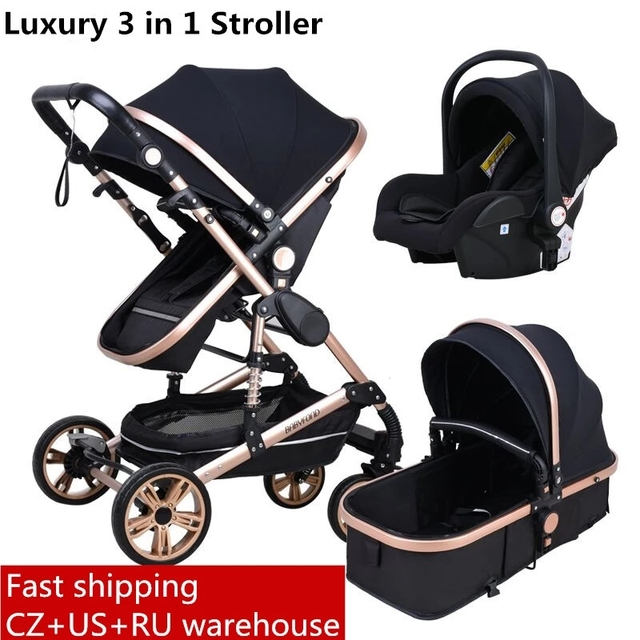 Babyfond Stroller High Landscape Baby Stroller 3 in 1 With Car Seat  Folding Baby Carriage for 0-3 Years Two Way Newborn Pram