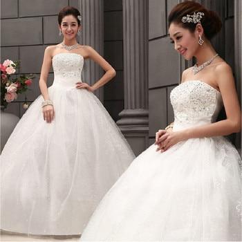Sweep Train Wedding Dress Cheap Celebrity Strapless Vintage Tulle Bridal Ball Gown Organza Lace bridal dresses Vestito Dda Sposa