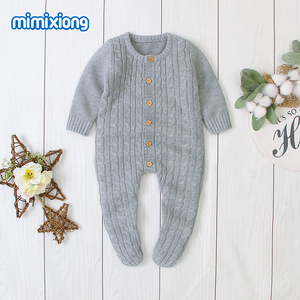 Image 1 - Baby Rompers Clothes Solid Knitted Newborn Toddler Kids Girls Jumpsuits Long Sleeves Infant Boys Overalls Children Outfits 0 24M