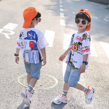 2020 summer new boys' suit T-shirt Pants Boys' casual summer short sleeve suit Korean version loose trend