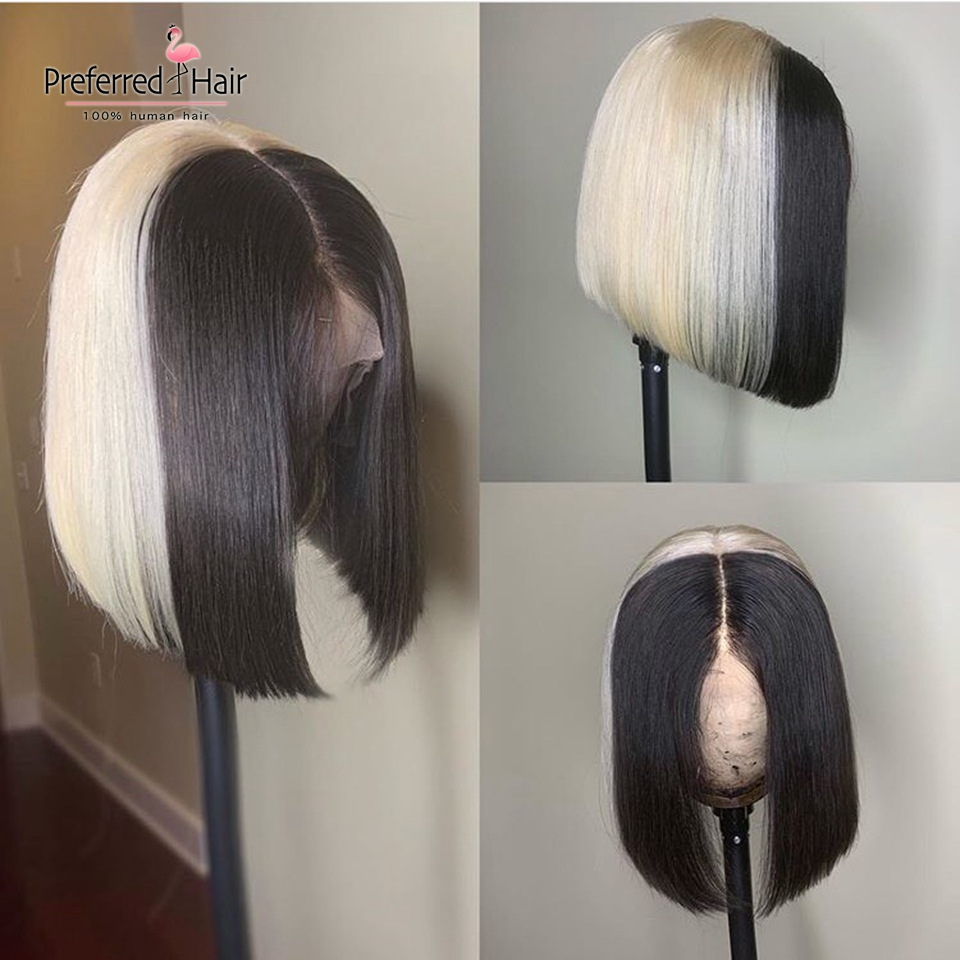 Preferred 613 Highlight Wig 13x6 Ice Blonde Human Hair Wig Preplucked Brazilian Remy Ombre Short Bob Lace Front Wigs For Women
