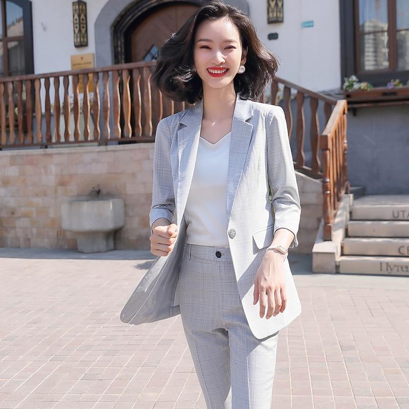 Green Plaid Female Office Work Formal Long Pant Suit Women's Lady OL Uniform 2 Piece Set Blazer Trouser Jacket Suits Plus Size A