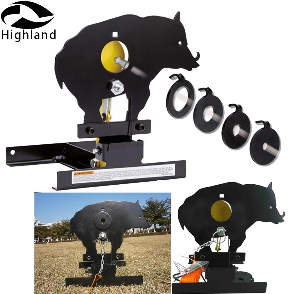 Airgun Boar Field Target W. 4 Bullseyes' Ring Auto Reset Gun Shooting Target For Airsoft Paintball Lead Pellets Shooting