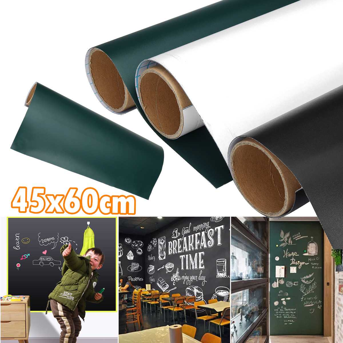 45x60cm Soft Magnetic Chalkboard Wall Stickers Removable Whiteboard Decals Great Learning Black Board Stickers For Office School