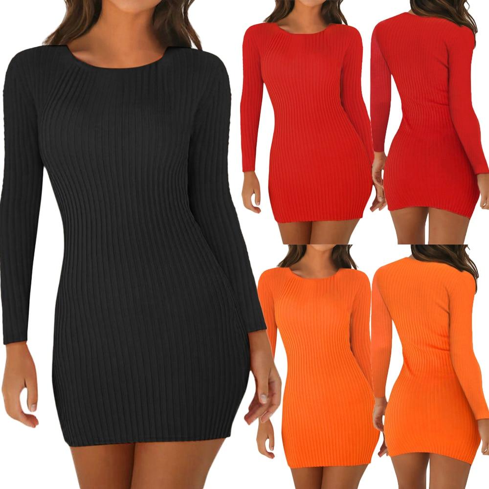 Ha5e6b55e7a084a8aac8eb42434898317A Women Pencil Bodycon Dress Spring Autumn Women Long Sleeve Solid Dresses Ladies Skinny Slim Knitted Stretch Short Dress Vestidos