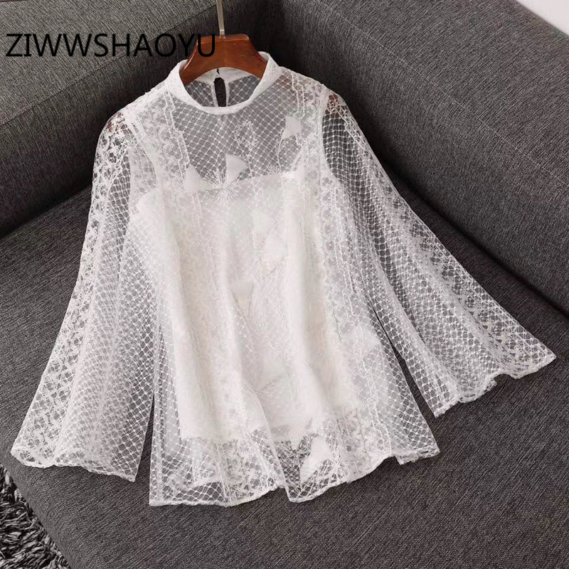 ZIWWSHAOYU Fashion Female Summer Floral Embroidery Mesh Tops Ladies Flare Sleeve Hollow Out Solid Vintage Tops
