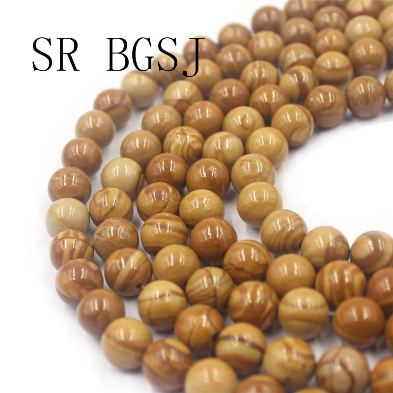 "Free Shipping BGSJ 6mm 8mm 10mm Yellow Wooden Jasper Gemstone Stone Jewelry DIY  Beads Strand  15"""