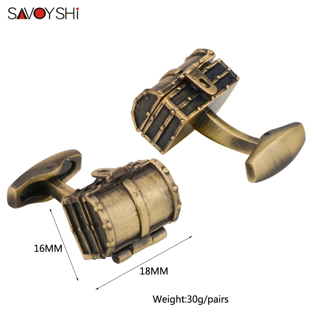 SAVOYSHI Luxury Bronze Treasure Box Cufflinks for Mens jewellery High Quality Shirt Cuff Link Groom Wedding Gift in Tie Clips Cufflinks from Jewelry Accessories