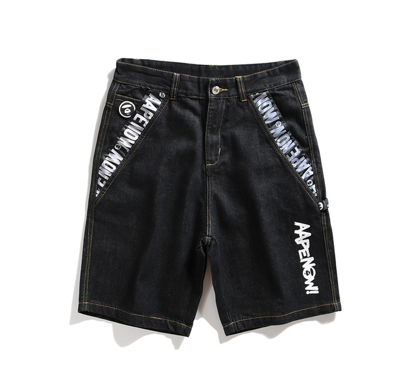 2019 New Style Summer Shorts Short Jeans Loose-Fit Simple-Style Small Round Standard Lettered Workwear Washable Pants