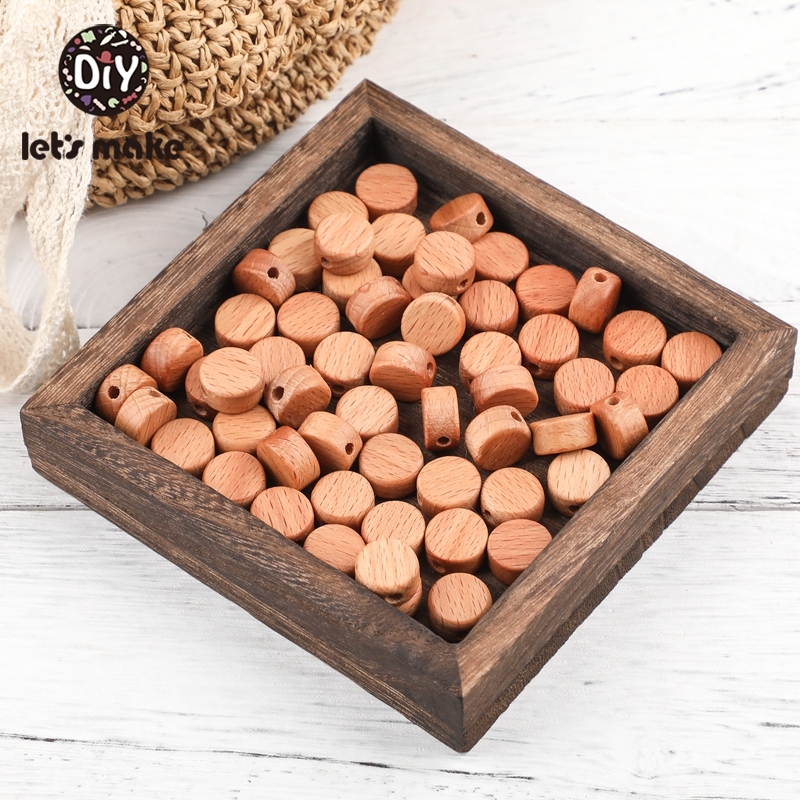 Let'S Make 100pc Handmade Baby Teether Wooden Beads Beech Deep Color Round Disc Teething Bead For Nursing Necklace Baby Teether