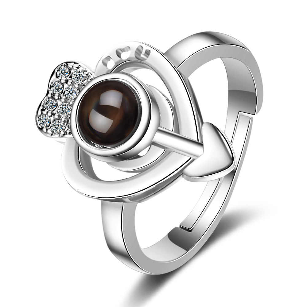 女性女の子の愛好家 100 言語私は愛あなた投影リング結婚式婚約指輪ハート形矢印メモリリング