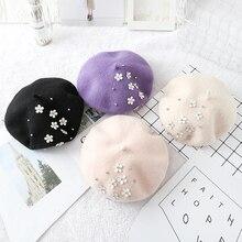 Hot Sales Winter Baby Girl Woolen Warm Berets Hats Princess Lolita Children Star/ Flower Beret Caps