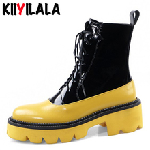 Kiiyilala Genuine Leather Platform Boots Women Booties Square Heel Round Toe Cross-tied Colorful Ankle Boots Zipper Chunky Shoes