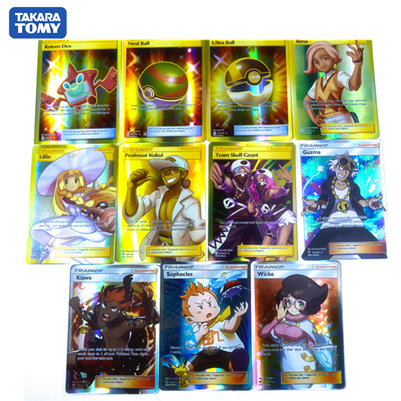 TAKARA TOMY Table Game Collection Cards 100pcs Shining Card English Pocket Monster Pokemon Trainer GX EX For Kids Christmas Gift