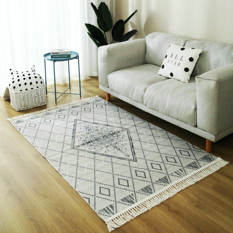 Nordic Gray White Carpets For Living Room Vintage Morocco Carpet Bedroom Cotton Woven Area Rug Turkey American Style Carpet