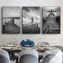 Gray Lighthouse And Wood Bridge Landscape Canvas Poster Prints Painting On Wall Art Modern Picture For Living Room Cuadros