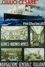 Poster retro do sinal de ti do metal grande do curso de navigazione generale italiana (1910)