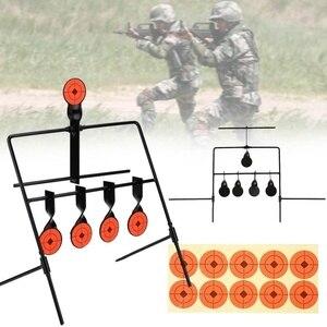Новая мишень для стрельбы, 5 мишеней, автоматический сброс, пневматическая винтовка, пистолет для стрельбы, металлический мишени, спиннинг, ...