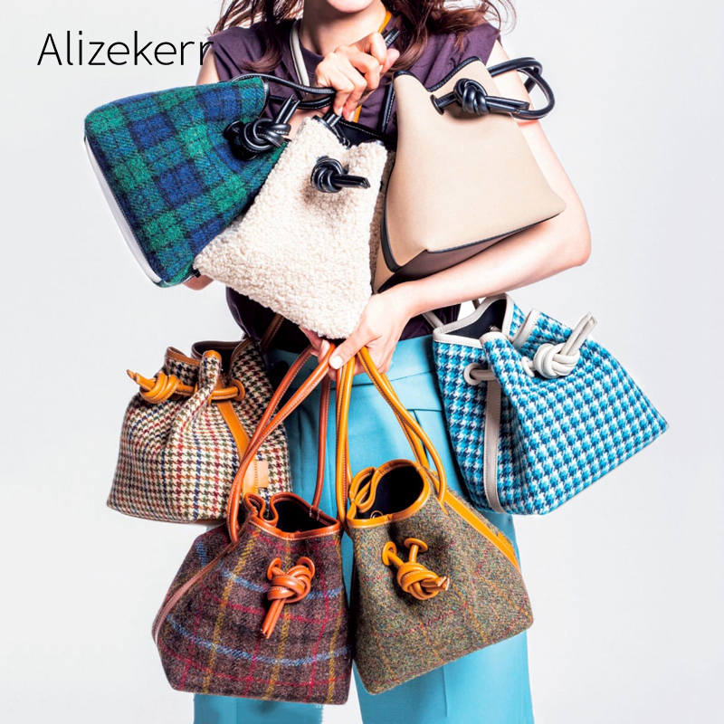 Woollen Houndstooth Bucket Bag Women 2019 Winter Japanese Designer Plaid Synthetic Fleece Purses And Handbag Drawstring Casual