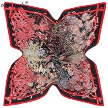 100% Silk Square Scarf Women Autumn Fashion Oil Painting Floral Print Ladies Shawls Spring Female Scarves 130*130cm