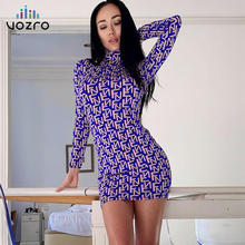 VOZRO Number Printing Sexy Party Dress Women Autumn Self-cultivation Half High Lead Long Sleeve Package Hip Skirt Vestido Befree