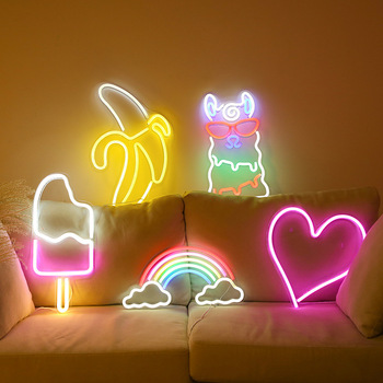 LED Neon Sign Bar Neon Night Light Party Wall Hanging Lamp Xmas Gifts Wedding Decor Colorful Rainbow Neon Lamp Children Bedroom
