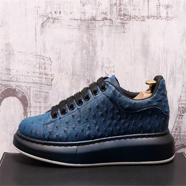Ostrich-Zapatillas de cuero de lujo para Hombre, zapatos planos informales con plataforma creciente de altura, estilo Hip Hop 2