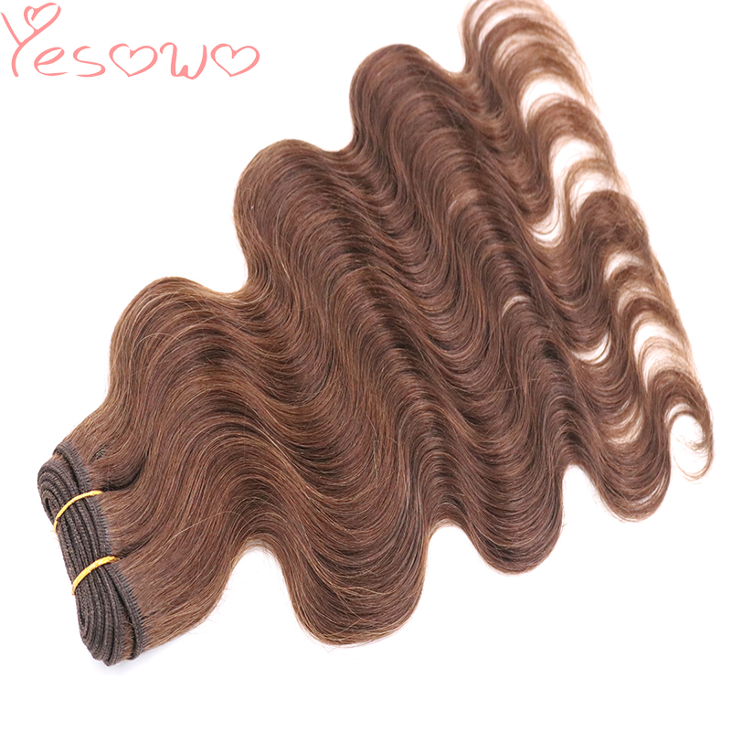Yesowo Free Shipping 4# 2# Brown Cheap Hair Extensions Real Hair Bundles 100g 14-20Inch Peruvian Body Wave Hair Weave