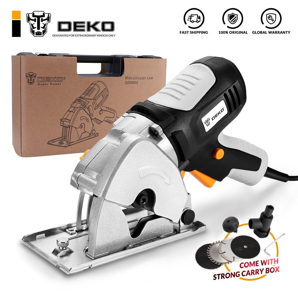 DEKO Mini Circular Saw Handle Power Tools 4 Blades BMC BOX Electric Saw with Personal Safety