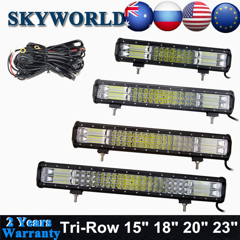 "SKYWORLD 4"" 5"" 15"" 18"" 20"" 23"" Inch LED Work Light Bar Spot Flood Combo Offroad 7D Tri-Row For Truck Jeep 4X4 4WD SUV ATV 12-24V"