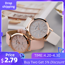 2020 Top Brand High Quality Fashion Womens Ladies Simple Watches Geneva Faux Leather Analog Quartz Wrist Watch clock saat Gift Q(China)