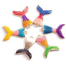 10 adet/grup balık pulu Mermaid kuyruk Charm deniz kabuğu Charms okyanus kolye emaye Charms el yapımı kolye takı el yapımı